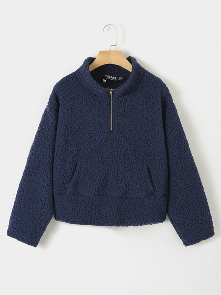 Yoins Navy Pocket Design Zip Front Teddy Sweatshirt