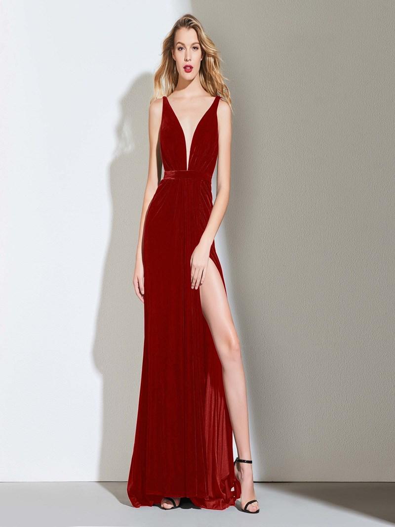 Ericdress Sheath Backless Black Evening Dress With Split Side