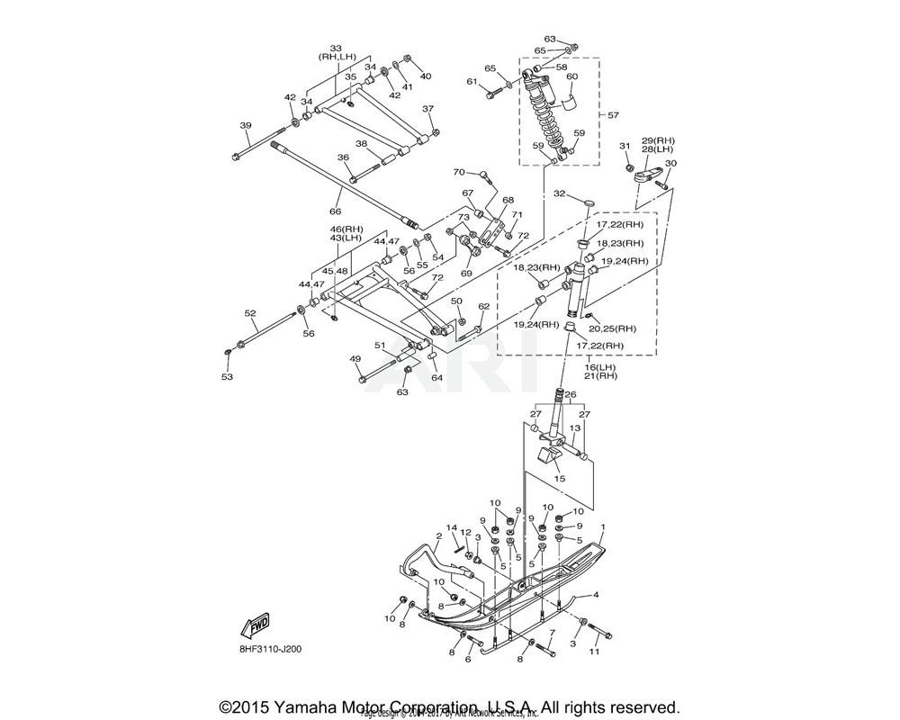 Yamaha OEM 8JA-23540-30-00 FRONT UPPER ARM COMP. | UR FOR DPBMC