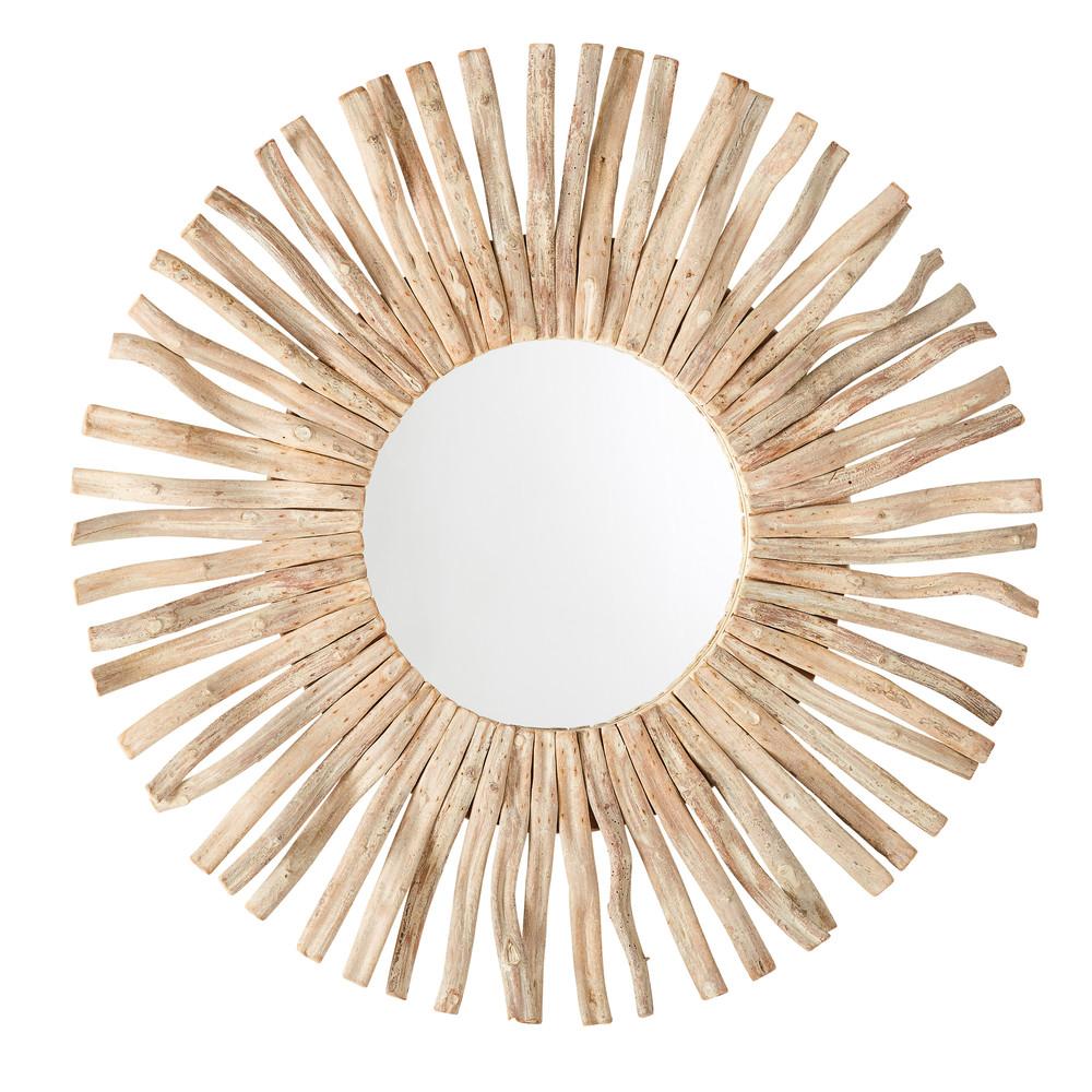Runder Spiegel mit Treibholzrahmen D100