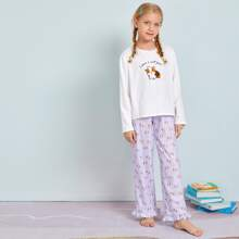 Girls Cartoon and Slogan Print Top & Ruffle Hem Pants PJ Set