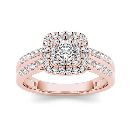 3/4 CT. T.W. Diamond 10K Rose Gold Engagement Ring, 9 , No Color Family