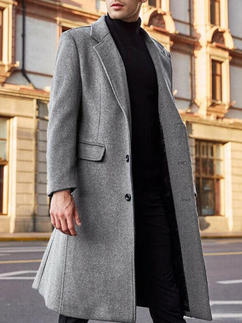 Ericdress Mid-Length Notched Lapel Plain Winter England Coat