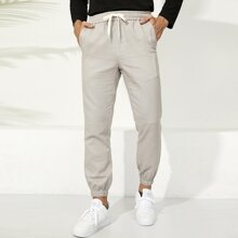 Guys Letter Patched Drawstring Waist Pants