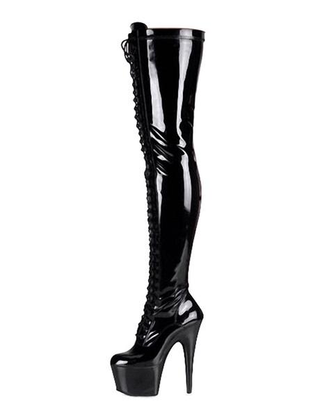 Milanoo Botas de tacon alto sexy Punta redonda con cordones Tacon de cono Rave Club Muslo rojo Botas altas Zapatos de stripper