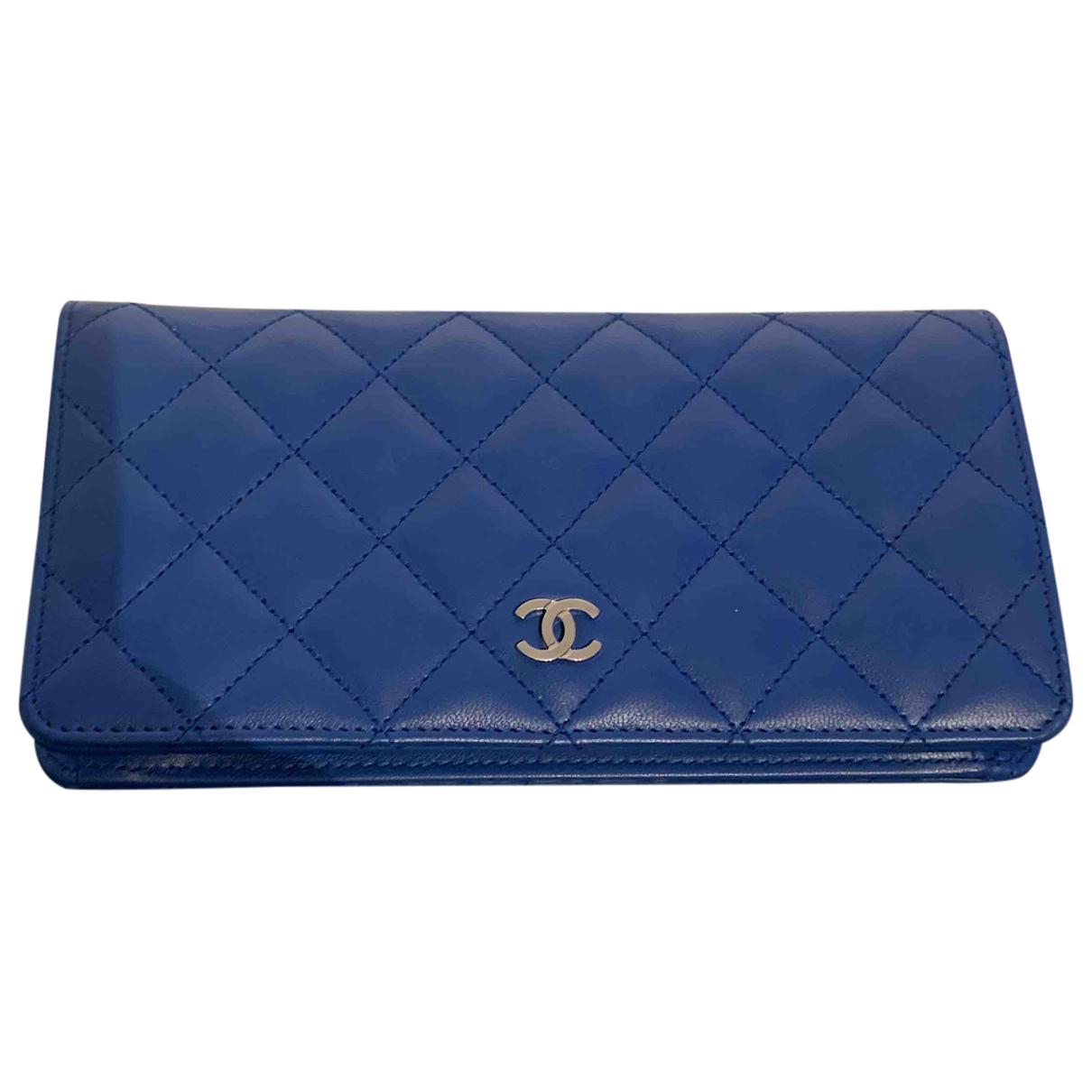 Chanel - Portefeuille Timeless/Classique pour femme en cuir - bleu
