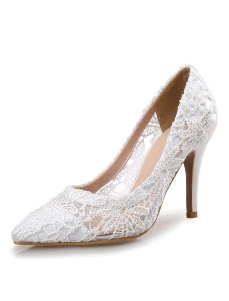 Milanoo Lace Wedding Shoes High Heel Womens Pointed Toe Pumps for Bridal