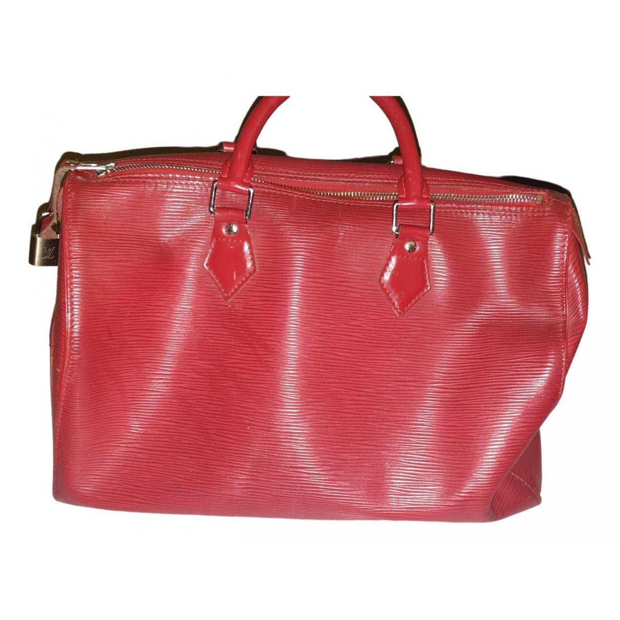 Louis Vuitton - Sac a main Speedy pour femme en cuir - rouge