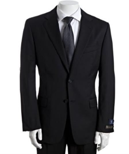 2 Button Black Wool Suit With Single Pleated Pants Mens