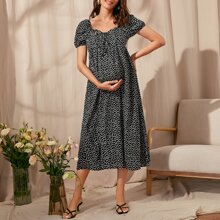 Maternity Puff Sleeve Knot Front Shirred Back Ditsy Floral Dress