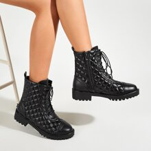 Lace-up Front Quilted Ankle Boots