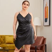 PU Leder Kleid mit V-Kragen, Rueschen und asymmetrischem Saum