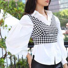 Tweed Tank Top mit Reissverschluss hinten und Ausschnitt ohne Bluse