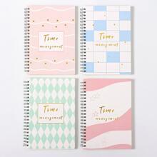 1pack Geometric Pattern Cover Random Notebook
