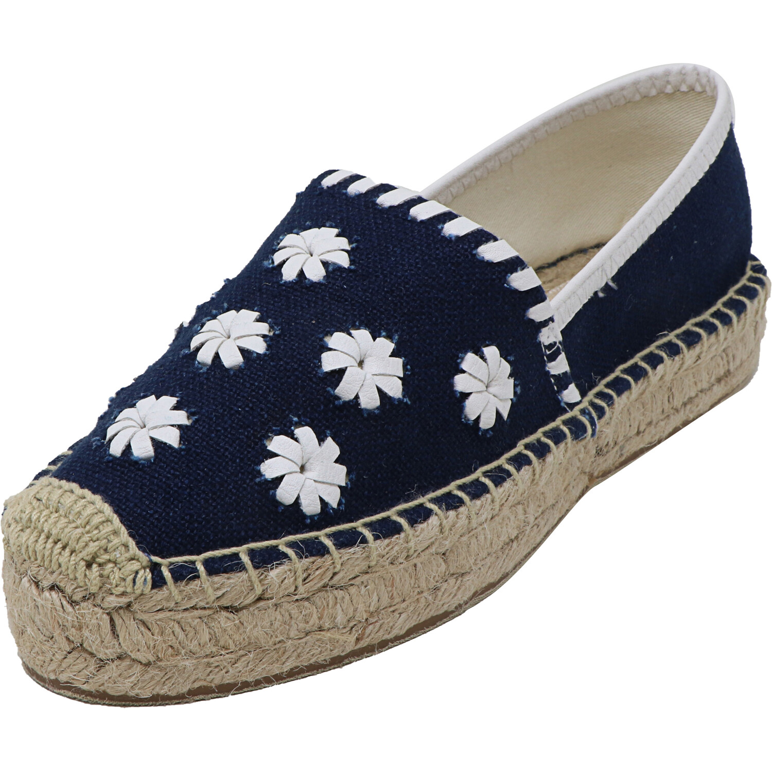 Jack Rogers Women's Palmer Espadrille Midnight / White Ankle-High Fabric Slip-On Shoes - 6.5M