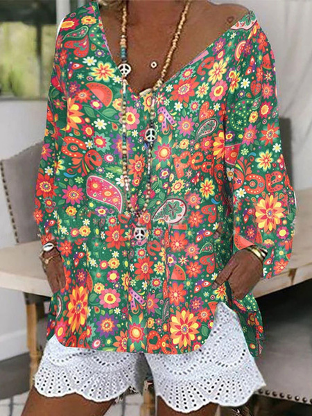 Milanoo Blouse For Women White V-Neck Floral Printed Long Sleeves Tops