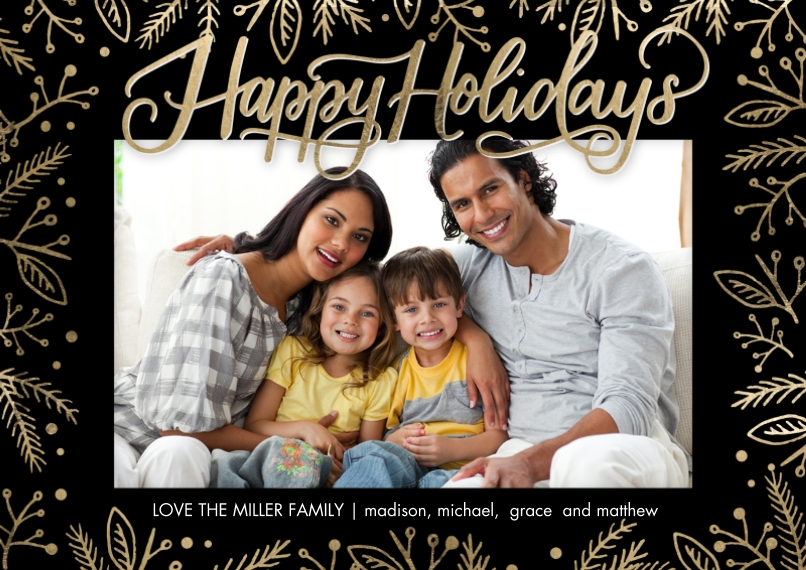 Holiday Photo Cards 5x7 Cards, Premium Cardstock 120lb, Card & Stationery -Holiday Foliage Overlay by Tumbalina