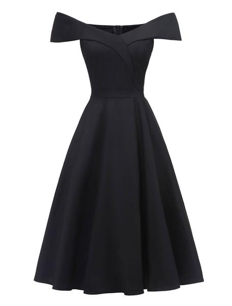 Milanoo Vestido de fiesta vintage fuera del hombro mangas cortas 1950s Swing Vestido de mujer