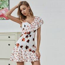 Double Crazy Kleid mit asymmetrischem Kragen, Raffungsaum und Blumen Muster