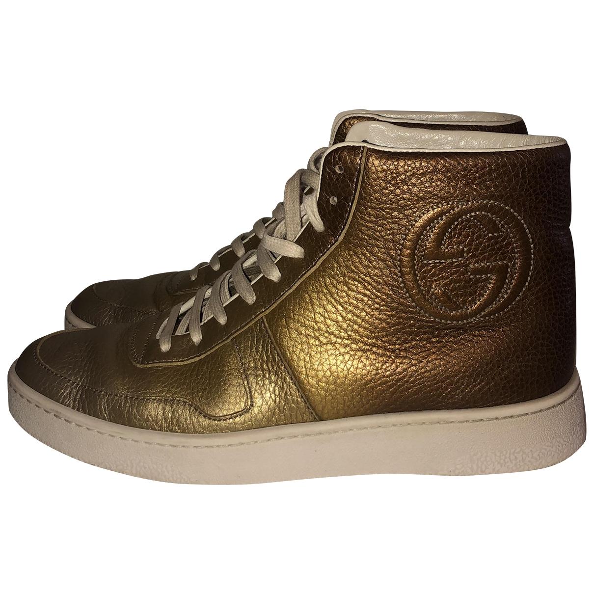 Gucci - Boots   pour femme en cuir - dore