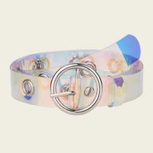 Girls Eyelet Decor Round Buckle Transparent Belt