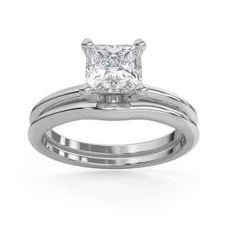 2 CT Moissanite Royal Classic Princess Cut Solitaire Ring Set in 14K (7.75 - White)