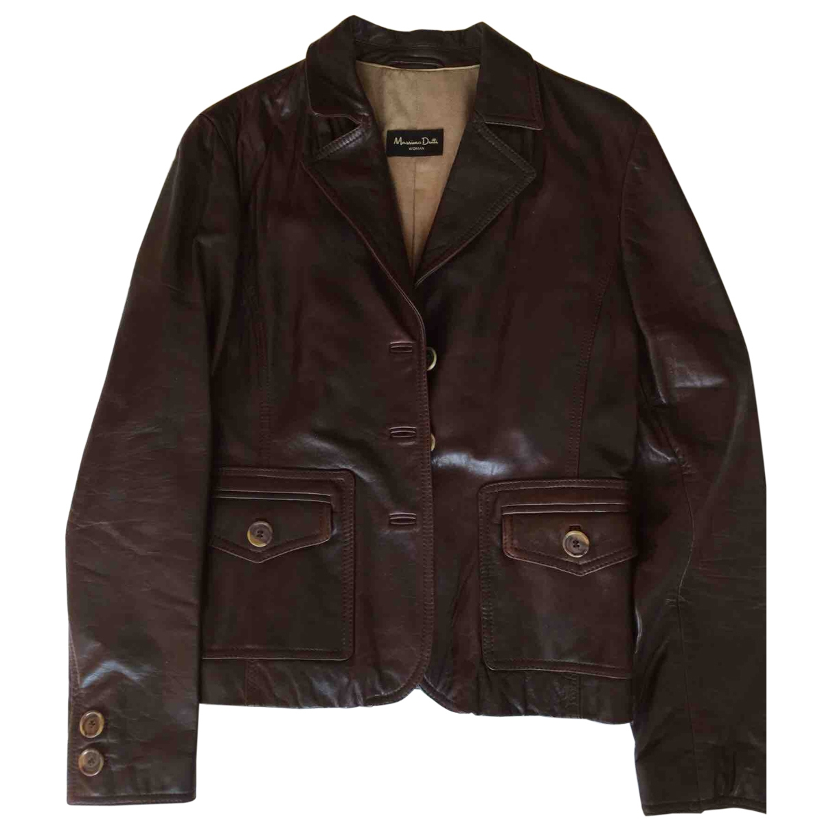 Massimo Dutti \N Brown Leather Leather jacket for Women M International