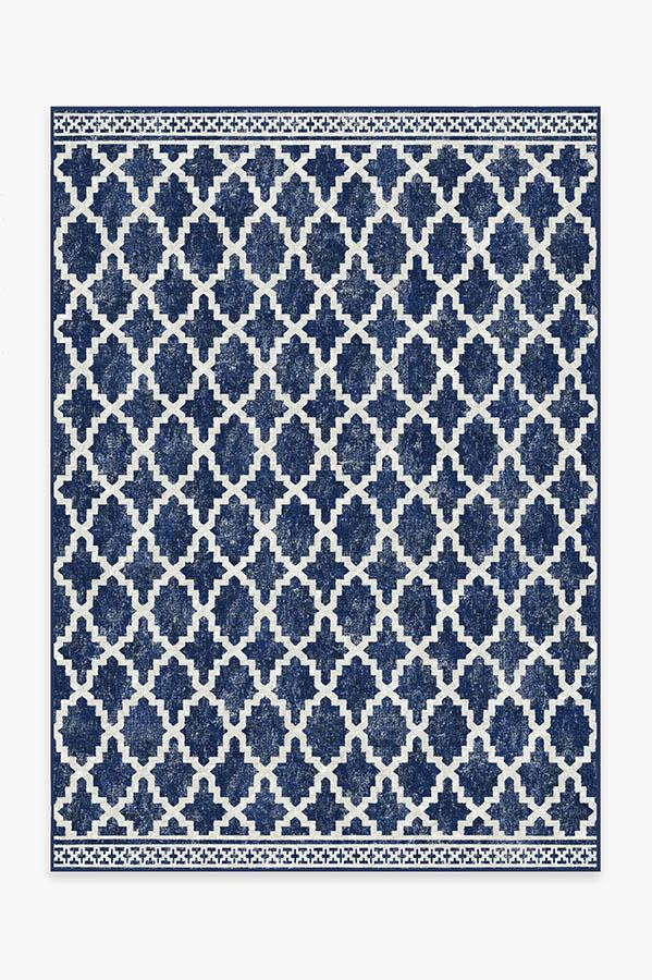 Washable Rug Cover | Outdoor Cleo Trellis Royal Blue Rug | Stain-Resistant | Ruggable | 5'x7'