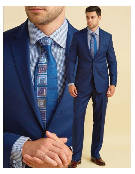 Men's 100% Wool 2 Button Royal Notch Lapel Suit