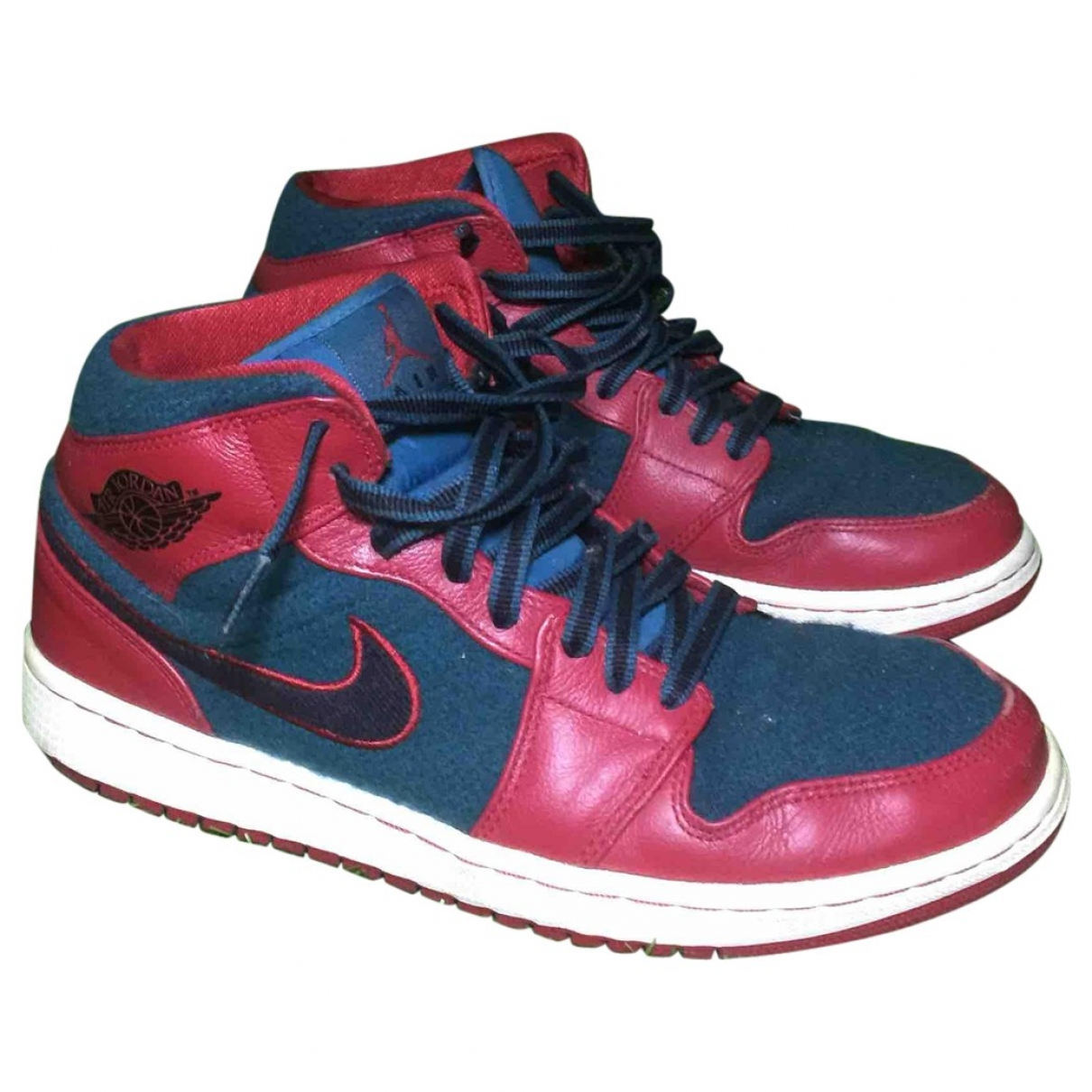 Jordan - Baskets Air Jordan 1  pour homme en cuir - rouge