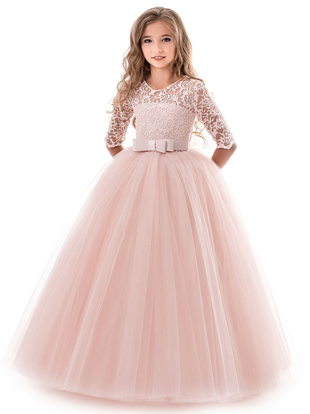 Milanoo Flower Girl Dresses Soft Pink Kids Formal Dress Lace Half Sleeve Bows Tulle A Line Girls Pageant Party Dress