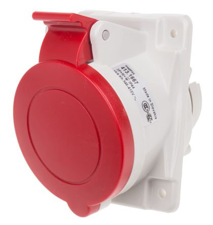 RS PRO IP66, IP67 Red Panel Mount 3P+N+E Heavy Duty Power Connector Socket, Rated At 16.0A, 415.0 V