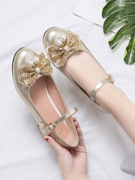 Milanoo Sweet Lolita Footwear Bows PU Leather Puppy Heel Lolita Pumps