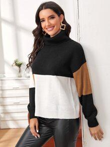 Turtle Neck Drop Shoulder Color Block Sweater
