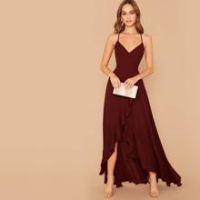 Lace Up Back Ruffle Asymmetrical Hem Slip Dress