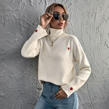 Heart Embroidery Turtleneck Sweater