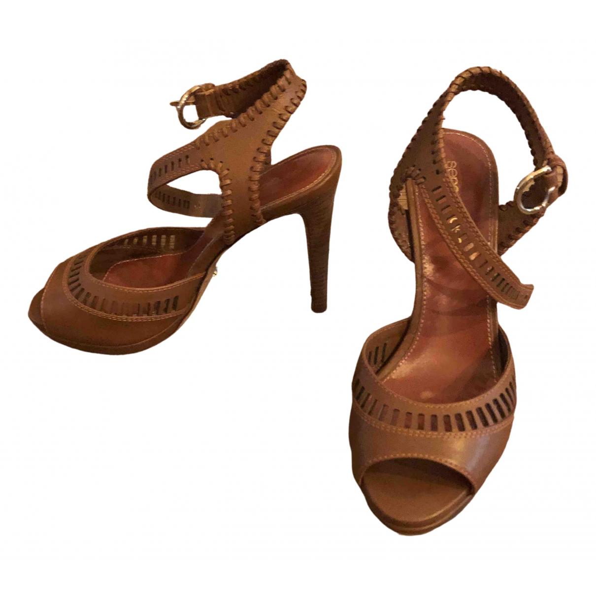 Sergio Rossi - Sandales   pour femme en cuir - marron