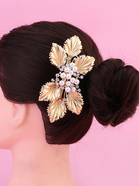 Milanoo Gold Bridal Comb Headpieces Pearls Leaf Beaded Wedding Hair Accessories