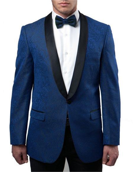 Men's Blue Slim Fit Tuxedo Jacket Pattern Black Lapel 100% Wool Blazer