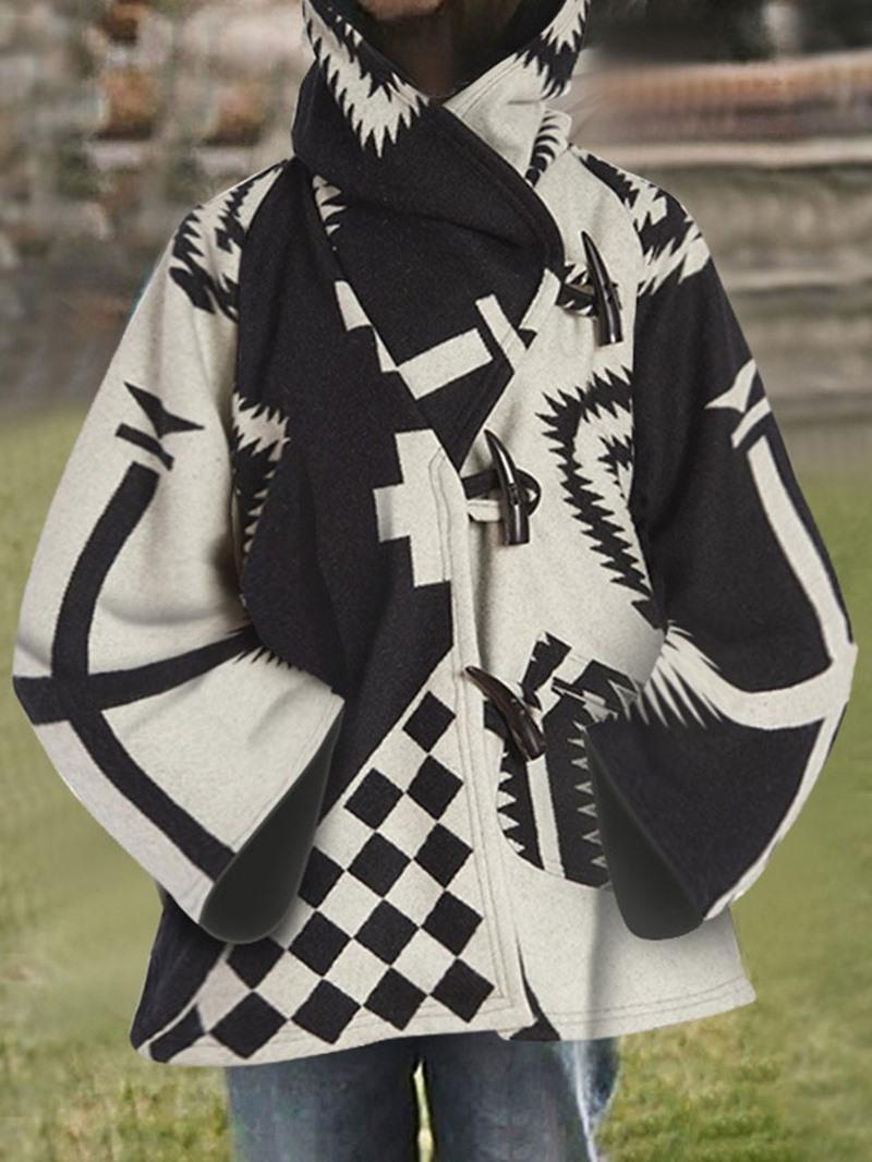 Ericdress Horn Button Asymmetric Loose Mid-Length Hooded Women's Overcoat