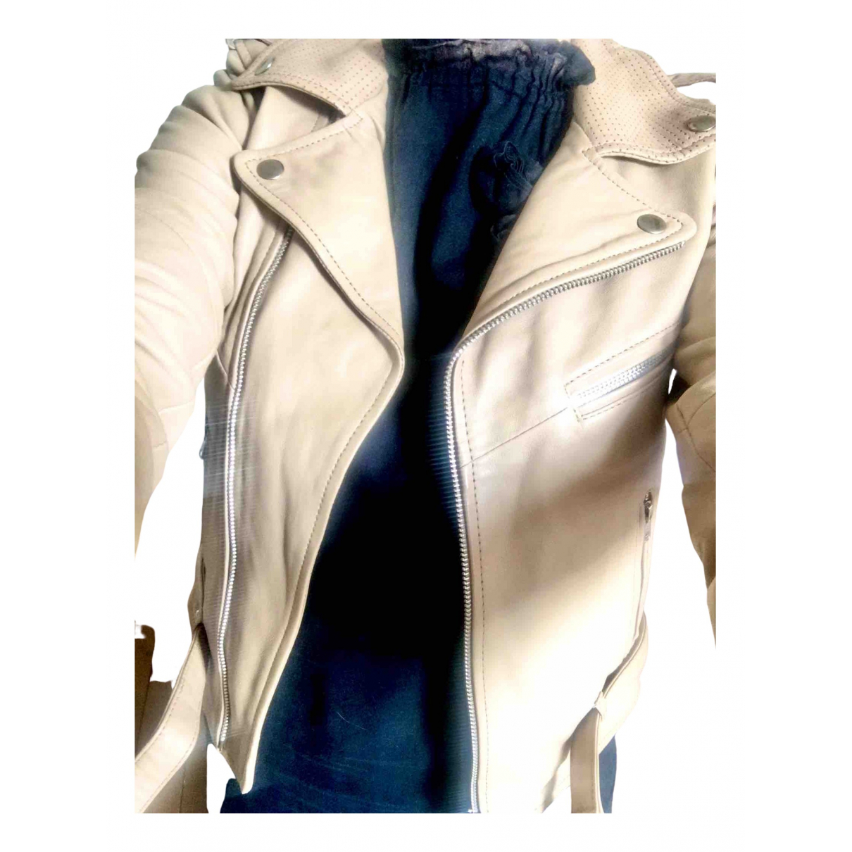 Non Signé / Unsigned \N Beige Leather jacket for Women 36 FR