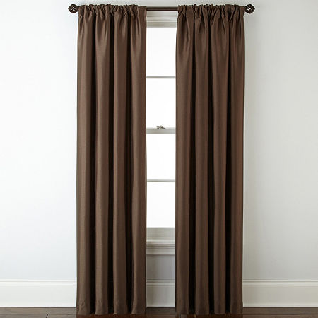 JCPenney Home Energy Saving Blackout Rod-Pocket Single Curtain Panel, One Size , Brown