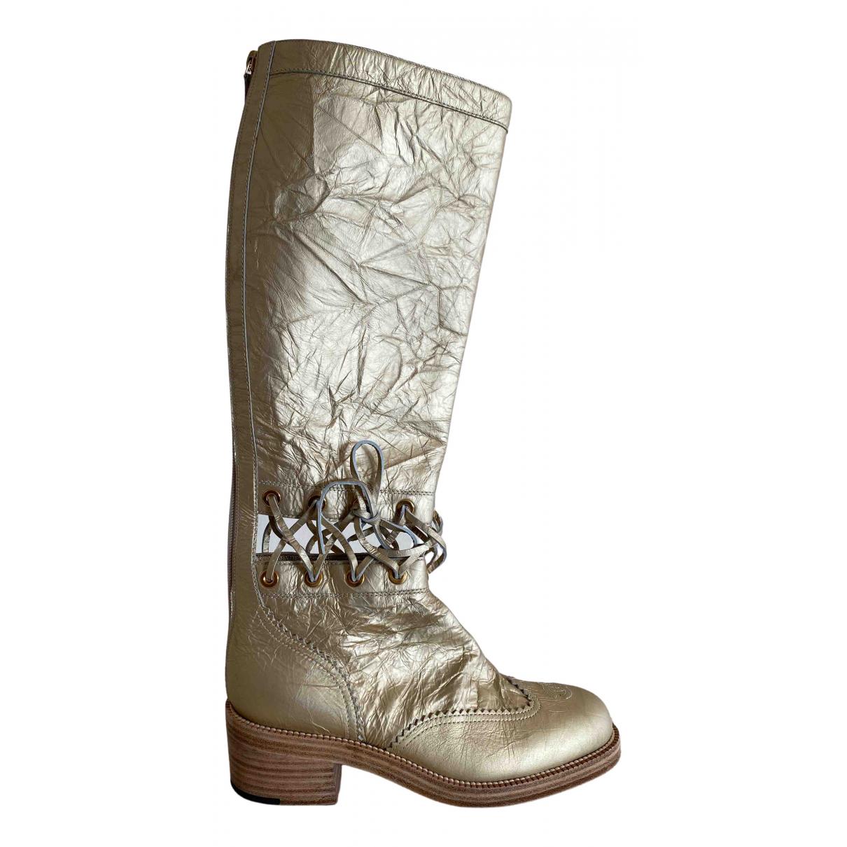 Chanel \N Stiefel in  Gold Leder