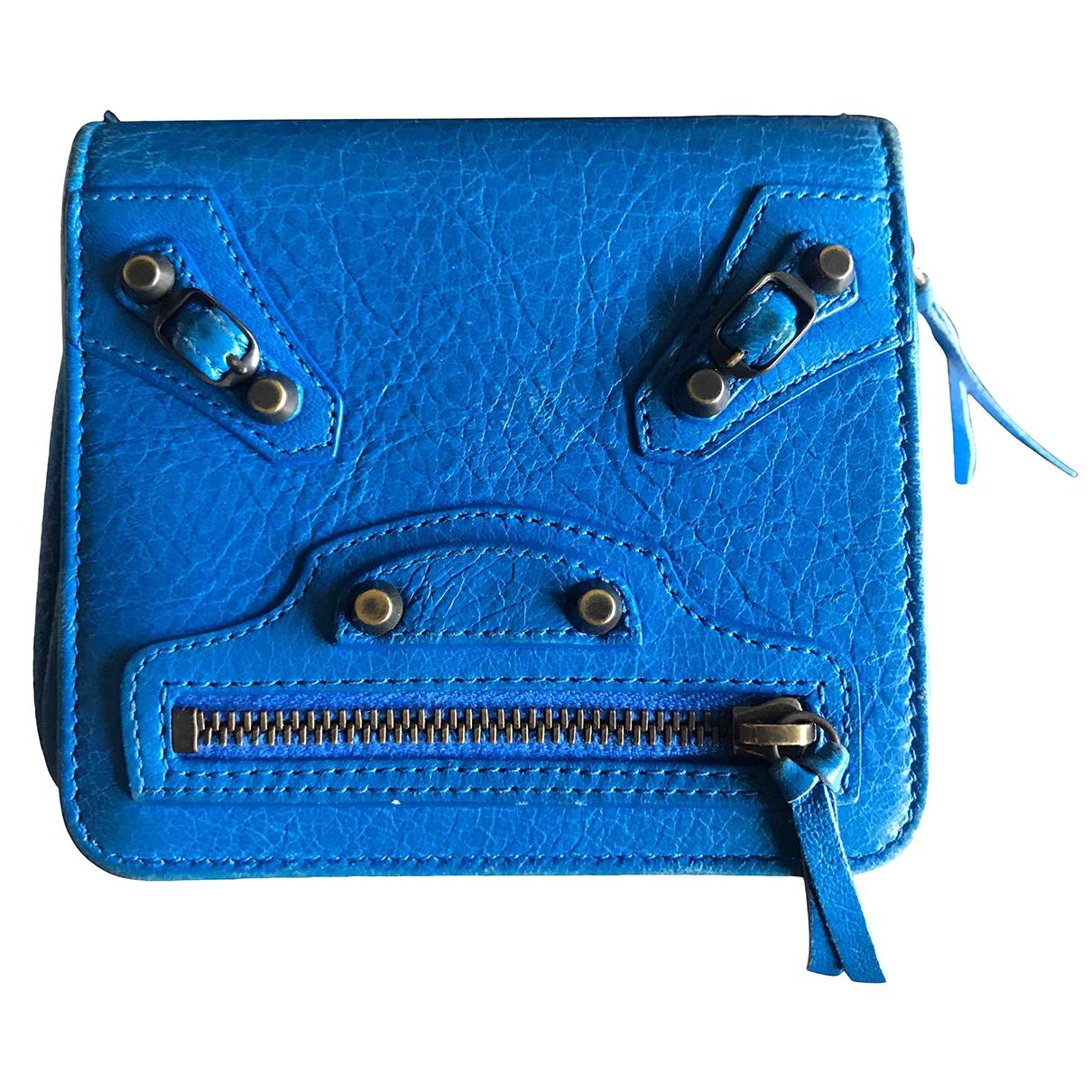 Balenciaga - Portefeuille   pour femme en cuir - bleu