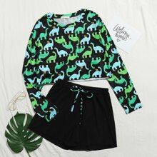 Dinosaur Print Tee & Shorts PJ Set