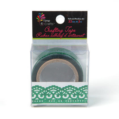 Green Carved Pattern Decorative Glitter Crafting Tape, 22mm x 2M - Time 4 Crafts
