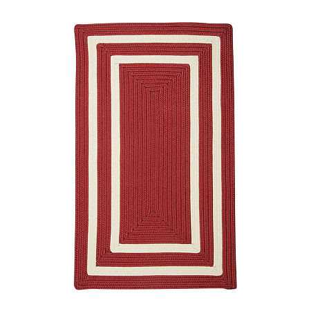 Colonial Mills Monica Double Border Braided Rectangular Reversible Indoor/Outdoor Rugs, One Size , Red