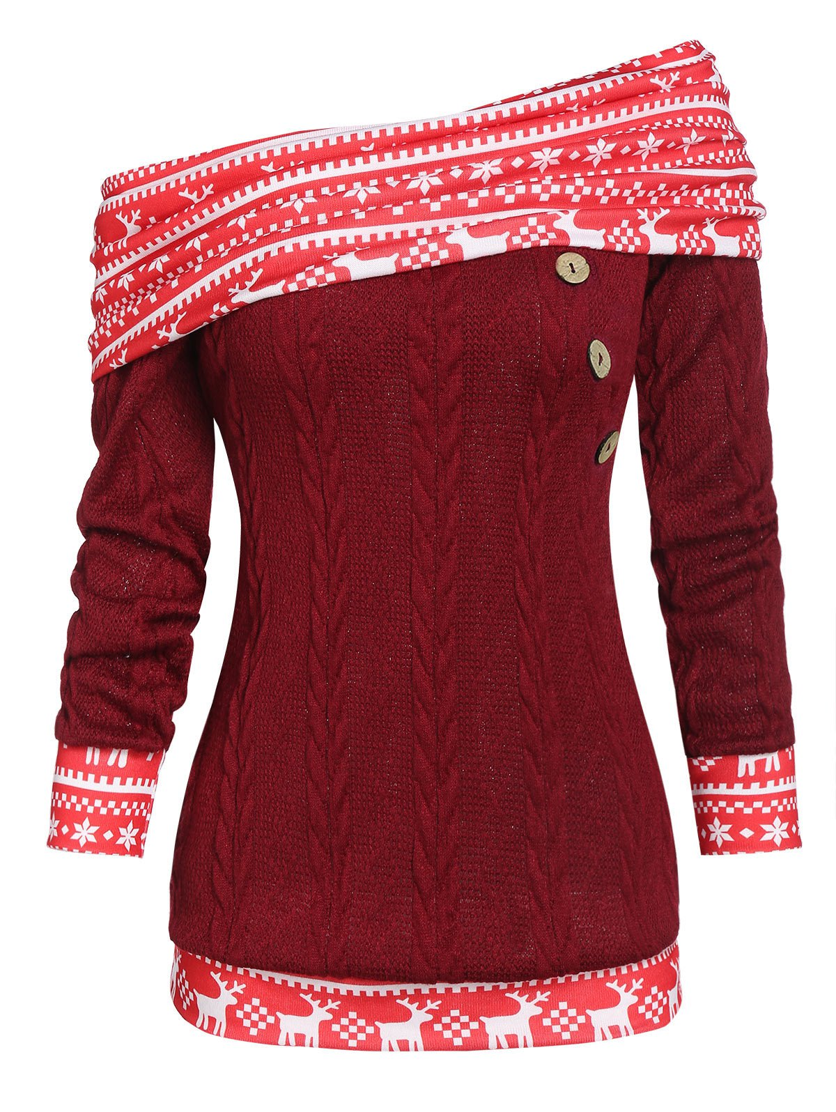 Christmas Convertible Skew Neck Elk Print Cable Knit Sweater