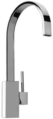 25575-81 Single Hole Kitchen Faucet with Swivel Ribbon Arched Spout  Designer Brushed Nickel