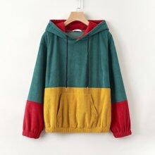 Corduroy Colorblock Pocket Hoodie